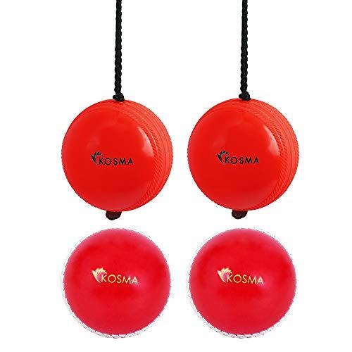 Kosma Set mit 4 Stück Cricket Ball Set - 2 Stück Hanging Ball für Cricket Praxis mit Reaktionsschnur in roter Farbe & 2 Stück Wind Ball rot mit weißer Naht - (zum Klopfen und üben)