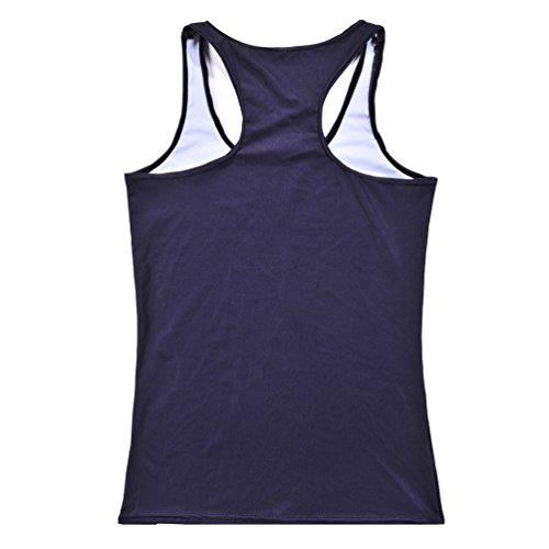 JTC Femme Débardeur Imprimé Veste T-shirt Tops de Sport Sans Manche Gilet Dété Coloré Taille Unique main sanglant