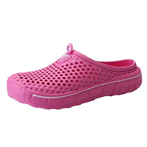 letter54 On Schuhe Damen U&Me Sommerfreizeitschuhe Strandschuhe Atmungsaktive Schuhedamen-Strand-Sandalen Aushöhlen Lässige Atmungsaktive Hausschuhe Flats Hot Pink 38 EU