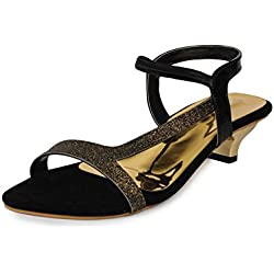 Do Bhai SND FC 800 Synthetic Heels for Women (37 EU, Black)
