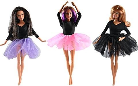 ADM 1030 - Ballettkleider: Ballett Dream (3er Set, ohne Puppen, passend für Modepuppen wie z.Bsp. Barbie & Steffi Love)
