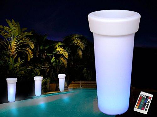 Arnusa Oasis Blumenkübel XXL 93 cm mit Beleuchtung und Fernbedienung! Beleuchteter Blumentopf LED 16 Farben! Sektkühler