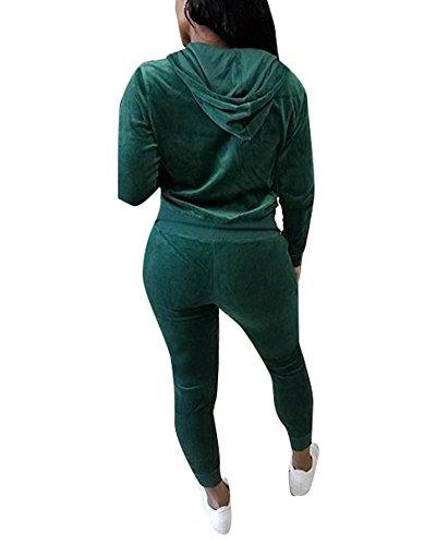 Donna 2 Pezzi Casual Sportivo Tuta Tinta Unita Manica Lunga Zipper Felpa Con Cappuccio + Coulisse Skinny Jogging Pantaloni Verde Scuro