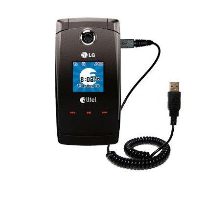 Aufgewickeltes USB-Kabel kompatibel mit LG Wave AX380 mit den Funktionen Datentransfer und Aufladen Verwendet die TipExchange Technologie