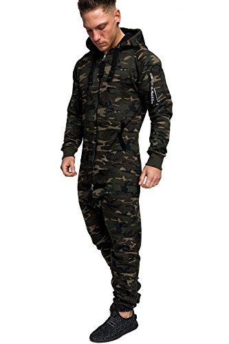 Amaci&Sons Herren Overall Jumpsuit Jogging Cargo-Style Onesie Trainingsanzug Camouflage 3006 Camouflage Khaki XL