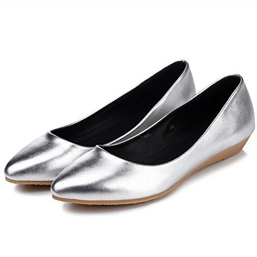 TAOFFEN Femme Mode Confortable Plat A Enfiler Chaussures Basse Argent