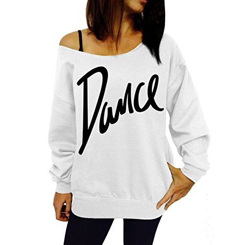 Yalatan Chemisier en coton à col ras du cou à manches longues pour femmes Dance Print Loose Jumper Tops Shirt Blanc
