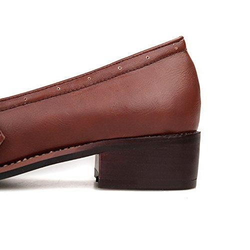 VogueZone009 Femme Boucle Rond à Talon Bas Pu Cuir Couleur Unie Chaussures Légeres Brun