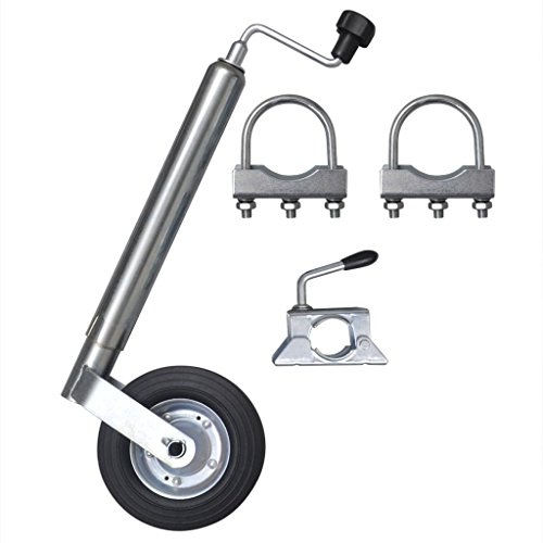 Preisvergleich Produktbild Festnight 48 mm Anhänger Stützrad aus Stahl mit 1 Klemmhalter & 2 U-Bügel Max. Belastung 150 kg