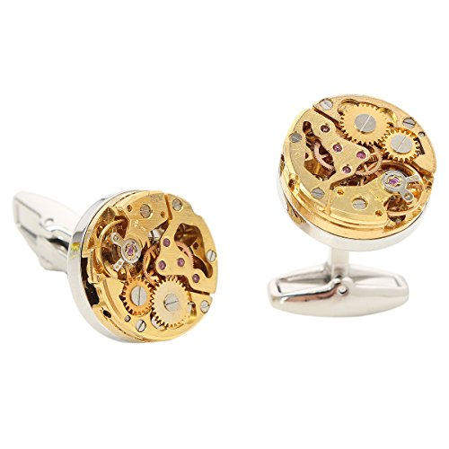 Baban Gold hollow Watch Movement Shape Cufflinks Deluxe Steampunk Style Ideal Gift for Men/Women