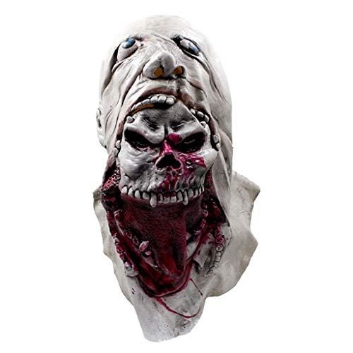 TINGSHOP Bloody Zombie Skull Gesichtsmaske, Horror Trick Spielzeug Scary Party Requisiten Bloody Zombie Maske Zombie Skull Gesicht Augen Horrible Latex Gesichtsmaske Halloween Kostüm Party Cosplay,A