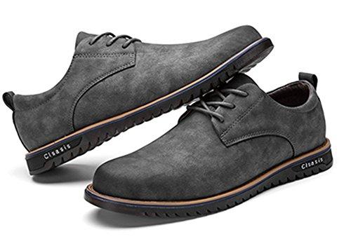 Vintage da uomo martin scarpe di pelle, coutudi casual confortevole stivali per l'autunno invernale (grigio, eu 42)