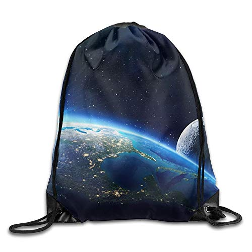 HLKPE Earth and Moon Drawstring Bag for Traveling Or Shopping Casual Daypacks School Bags