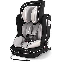 Meinkind Siège Auto Isofix Bébé, Hauteur Réglable - Siège Auto Groupe 1/2/3 Confort pour Bébé Enfant 9-36kg avec Bouclier ECE R44/04 (Gris)