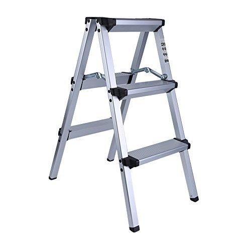 Homgrace Trittleiter Aluminium Klapptritt Doppelstufen Alu Leiter Stehleiter Klappleiter Haushaltsleiter, Belastbar bis 150 kg, 2 Stufen/ 3 Stufen/ 4 Stufen/ 5 Stufen Wählbar (3 Stufen)