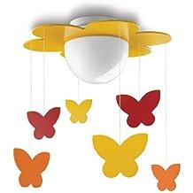 Philips Meria Lampada da Soffitto, Fiore Arancio con Farfalle Pendenti, Lampadina Risparmio Energetico Inclusa - Fiori E Farfalle