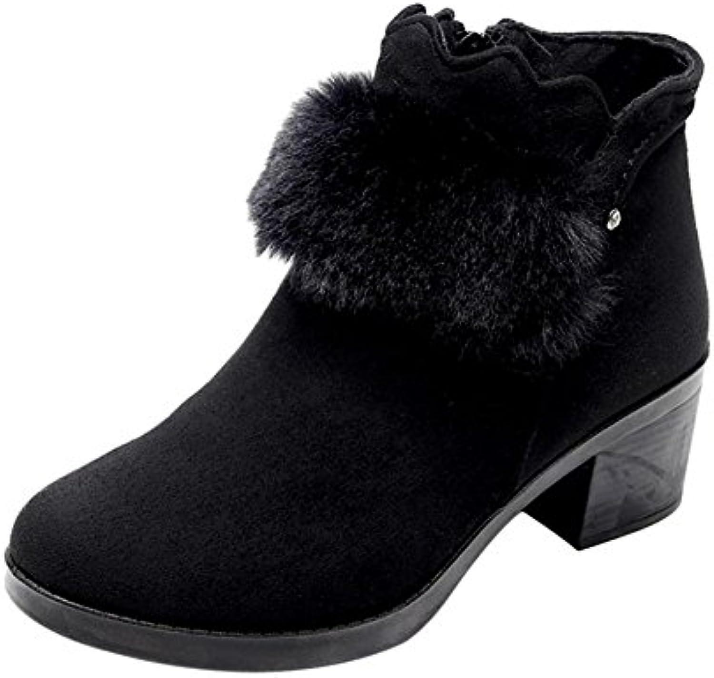 Hzjundasi Casuales Botas Mujer Zapatos de Tacón Alto Forrado Cálido Zapatos
