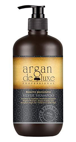 Silbershampoo Anti-Gelbstich in Friseur-Qualität ✔ Entfernt Gelbtöne aus blondierten Haaren ✔ Silver Platin Blond NoYellow ✔ Argan DeLuxe, 300ml