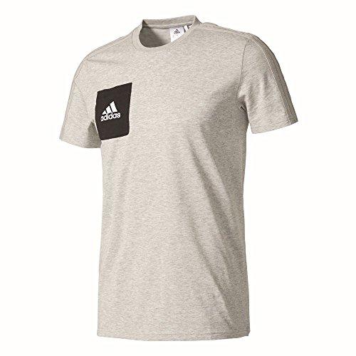 adidas Herren Tiro 17 T-Shirt, Medium Grey Heather/Black/White, S - Adidas Polo-shirt Gestickte