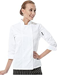 De Manga Larga para Chef de Color Blanco Uniformes con Instrucciones para Coser Chaquetas para Mujer 8104C1