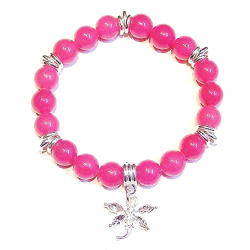 Dehnbares Edelstein Armband - Pink Jade mit Kristall Libelle Ca. 20.5cm