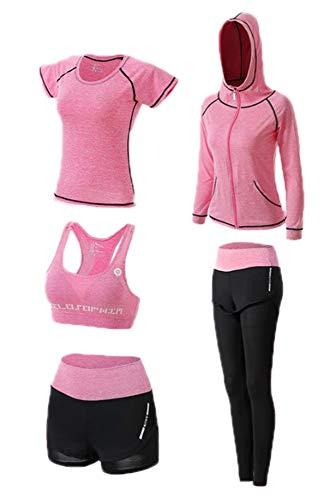 huateng Yoga-Anzug-Set, Damen 5 Stück Laufanzug Gym Outfit Workout Sportbekleidung, Fitnesstraining Set -