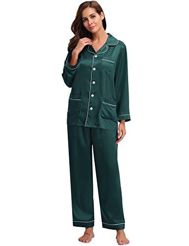 Aibrou raso donne pigiama a maniche lunghe, pigiama, camicia da notte, sleepwear per tutte le stagioni.