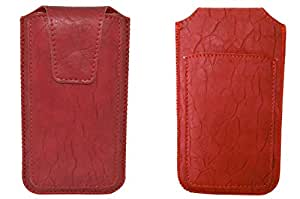 TOTTA PU Leather Pull Up Pouch For Micromax Yu Yuphoria RED