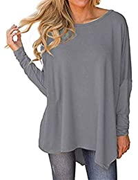 Auxo Women Batwing Long Sleeve Blouse Round Neck Shirt Irregular Hem Plain  Sweatshirt Baggy Tunic Jumper 1b2633397