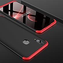 Vivo V9 Front Back Case Cover Full Body 3-in-1 Slim Fit Complete 3D 360 Degree Protection Hybrid Hard Bumper (Black Red)