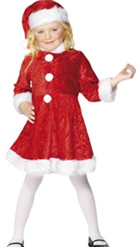 Luxuspiraten - Mädchen Kostüm Miss Santa mit Kleid und Hut , 116/122, (Kamin Mädchen Kostüm)