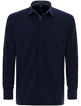 ETERNA Comfort Fit Hemd Langarm mit Brusttasche Chambray nachtblau