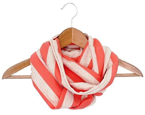 BRANDELIA Halstuch für Frauen. Loop Schal gestreift. Wendbares und farbenfrohes Mode Accesoire, ideal auch als Geschenk. Handgefertigt in Spanien. Korall beige gestreift