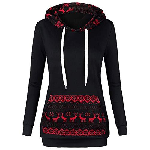 (VEMOW Heißer Damen Frauen Pullover Weihnachtsdruck Mit Reißverschluss Lässige Tägliche Freizeit Im Freien Pullover Mit Kapuze Sweatshirt Tops Herbst Winter(A-Schwarz, EU-36/CN-L))