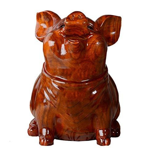 Yuanjiashop Cerdo de Madera Maciza Hucha Moneda Billete Hucha Sala de Estar Ornamento de Talla de Madera Caja de Dinero