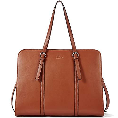 CLUCI Aktentasche Damen Leder Slim Laptoptasche für 15.6 Zoll Vintage Frauen Business Aktenkoffer Braun (Executive-aktenkoffer-tasche)