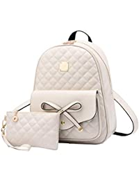 93898c9164 Alice Fashion Girls Bowknot 2-PCS Fashion Backpack Cute Mini Leather  Backpack Purse for Women
