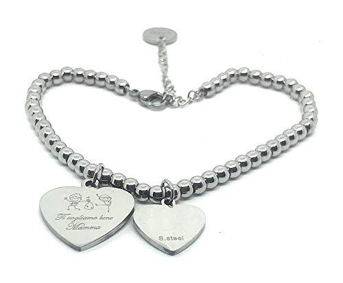 Bracciale famiglia,mamma,nascita,figli, frase incisa su cuore - db gioielli (ti vogliamo bene mamma)