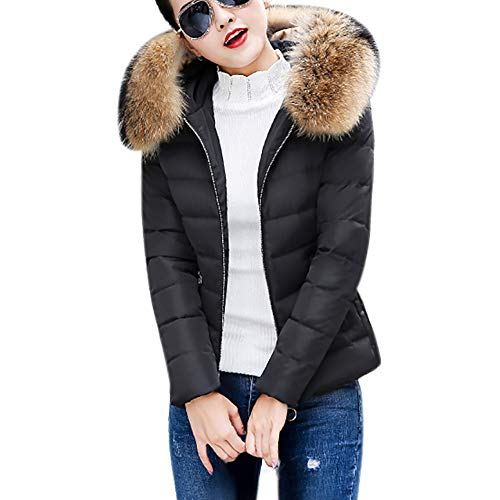 BHYDRY Damen Jacke Damen Warm Mantel Wintermantel kurz Winterjacke Dickere Mit Kapuze Slim fit Outwear Baumwollkleidung Parkajacke Reißverschluss Jacke Steppjacke mit Pelz Halsband(Large,Schwarz)