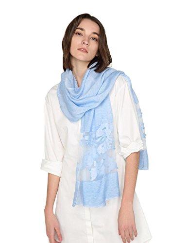 SEW ELEGANT NEW Gorgeous Ladlies Sheer Butterfly Print Silk Scarf Sky Blue