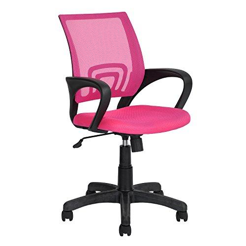Siège Chaise de Bureau Réglable Confortable en PP Plastique Réseau Rose avec 5 Roulettes Pivotant à 360