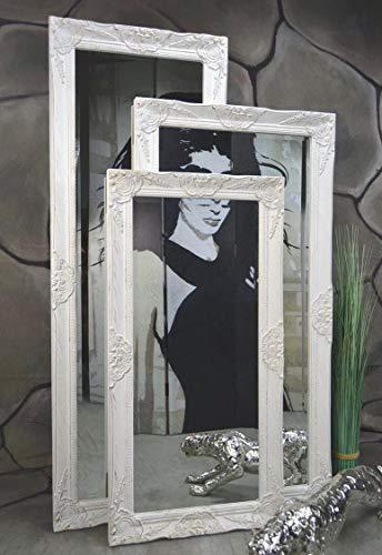 Livitat® Wandspiegel 120 x 60 cm Spiegel Badspiegel barock antik Weiß