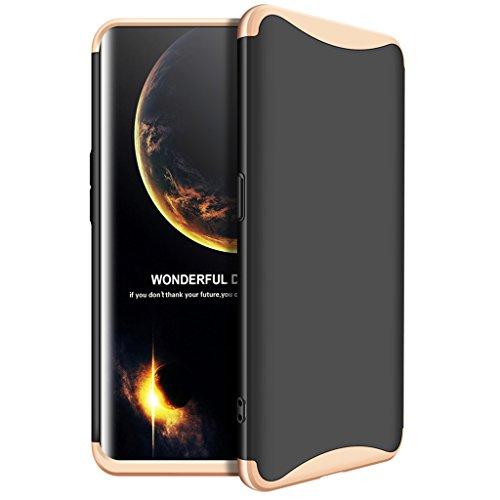 Oppo Find X Hülle, Ultra Dünn 3 in 1 Abnehmbare Anti-Kratzer Hart PC Handyhülle, 360° Full Body Stoßfest Schutzhülle für Oppo Find X (Schwarz, Gold)
