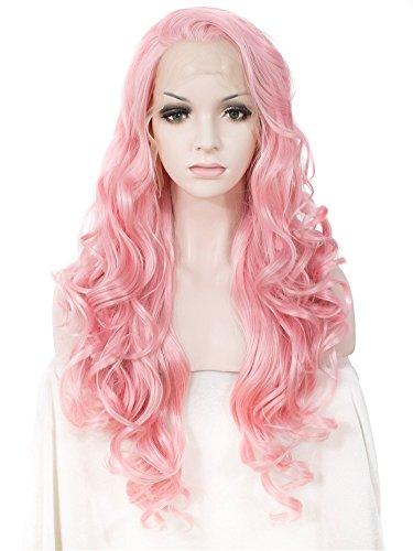 ng Wasser gewellt rosa Perücke Lolita Kostüme Sweet Kim Kardashian Kunsthaar-Perücke Spitze vorne Günstigen Cosplay (Kim Kardashian Auf Halloween)