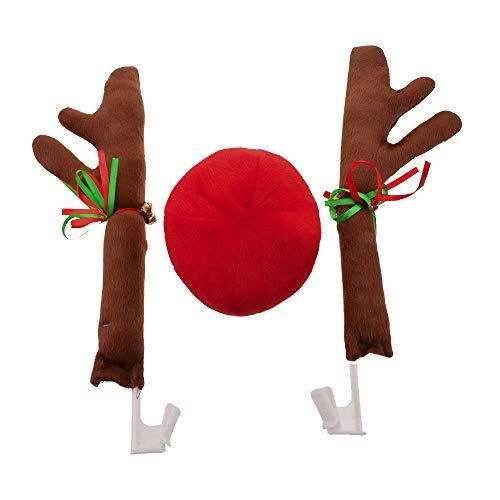 (F.lashes Rote Plüschnase und Braunes Rentier-Geweih für den Kühlergrill und die Seitenscheiben Ihres Autos. Weihnachtliches KFZ Zubehör)