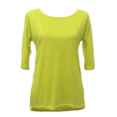 LONUPAZZ pullover femme Trois quarts manches longues chemise blouse top Jaune