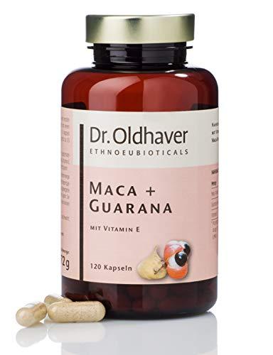 120 Kautabletten Kapseln (Dr. Oldhaver Maca + Guarana Kapseln (120 Stück) | Powermischung für Vitalität mit hochwertigem Macapulver und Guaranapulver sowie Vitamin E | Für mehr Energie und Konzentration)