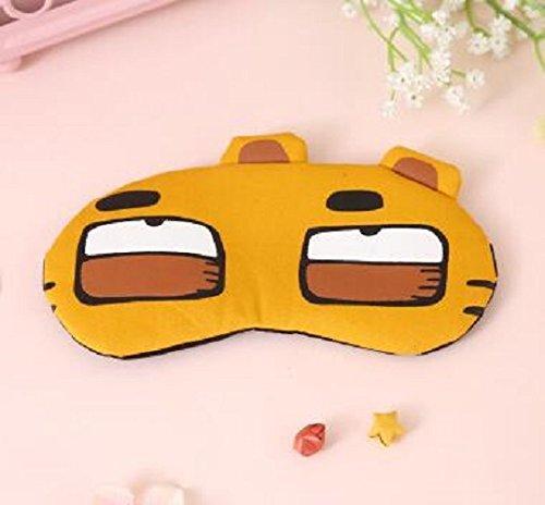QWhing Máscara de Dormir para los Ojos, diseño de Dibujos Animados Que Alivia la Fatiga Invisible (Naranja pequeño Tigre)