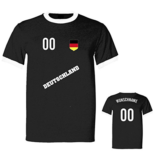 Shirtfun24 Herren WAPPEN FLAGGE EM WM Deutschland Name Nummer Ringer Fun T-Shirt, schwarz, XXL (Trikot Ringer T-shirt Kurzarm)