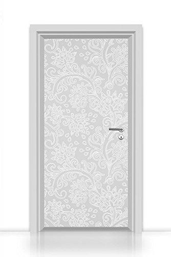 Papel Pintado autoadhesivo para puerta einteilig (elegante Decoraciones Florales Blanco estuco) Puerta Pantalla 93x 205cm